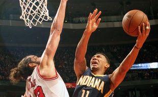 Le pivot des Chicago Bulls Joakim Noah, le 16 novembre 2013, contre les Indiana Pacers.