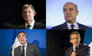 Photomontage de François Fillon, Nicolas Sarkozy, Alain Juppé et Jean-Pierre Jouyet.