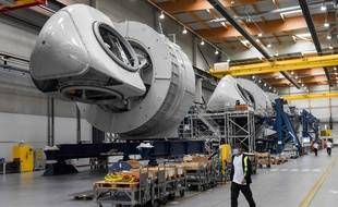 Production des futures éoliennes au large de Saint-Nazaire, à Montoir-de-Bretagne, le 15 septembre 2020.