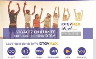 Page d'accueil du site d'IDTGV Max.