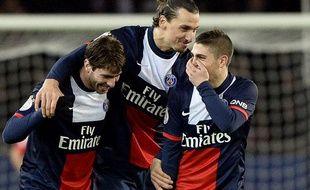 Les Parisiens Maxwell, Zlatan Ibrahimovic et Marco Verratti le 7 décembre 2013 contre Sochaux au Parc des Princes.