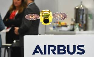 The Airbus logo is seen at its stand during the the 70th annual International Astronautical Congress at the Walter E. Washington Convention Center in Washington, DC on October 22, 2019.