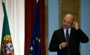 Le commissaire européen chargé des Affaires économiques, Pierre Moscovici, lors d'une conférence de presse à Lisbonne, le 10 mars 2016