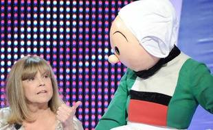 Chantal Goya et sa cousine, Bécassine réunies sur le plateau de «Panique dans l'oreillette» le 18 novembre 2009.