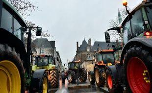 Manifestation d'agriculteurs le 22 janvier 2016 devant la préfecture de Rennes