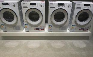 Des machines à laver exposées à l'IFA de Berlin, grand-messe européenne de l'électronique, le 2 septembre 2015