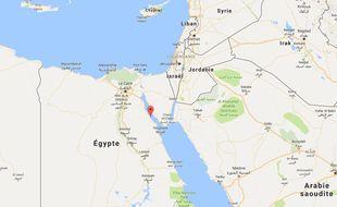 Carte situant Ras Gharib, la ville égyptienne la plus touchée par les inondations survenues le 28 octobre 2016.