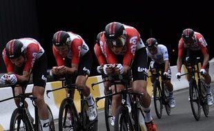 L'équipe Lotto-Soudal lors du contre-la-montre à Bruxelles.