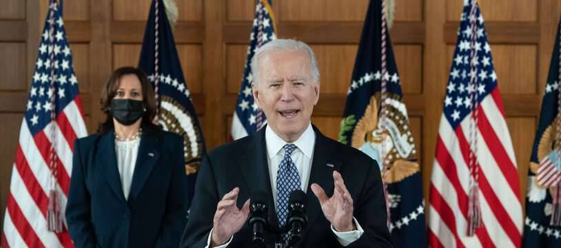 Joe Biden et Kamala Harris à Atlanta, le 19 mars 2021 après avoir rencontré la communauté asiatique.