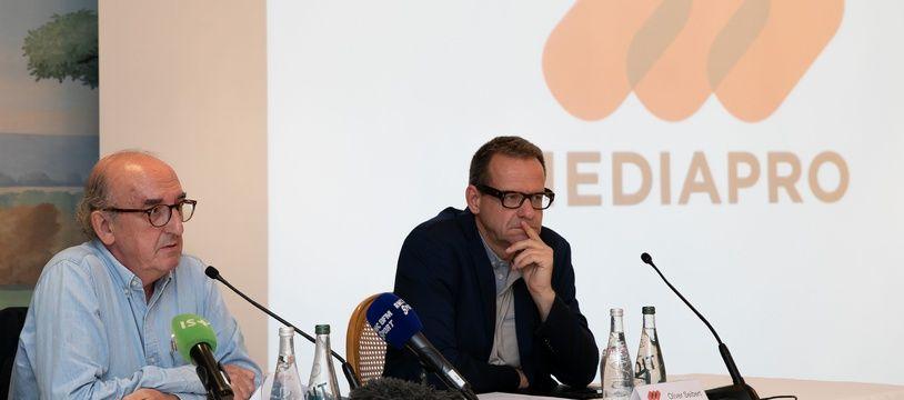 Les patrons de Mediapro ont donné une conférence de presse à Paris, le 31 mai 2018.