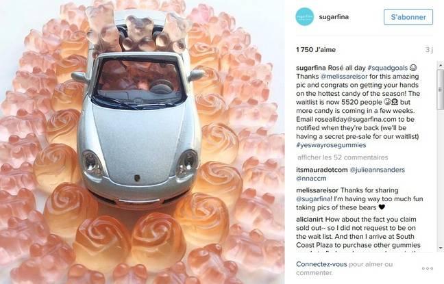 Capture d'écran du compte Instagram de Sugarfina.
