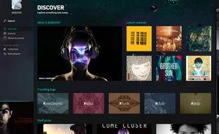 La page d'accueil du service de musique en streaming Baboom.