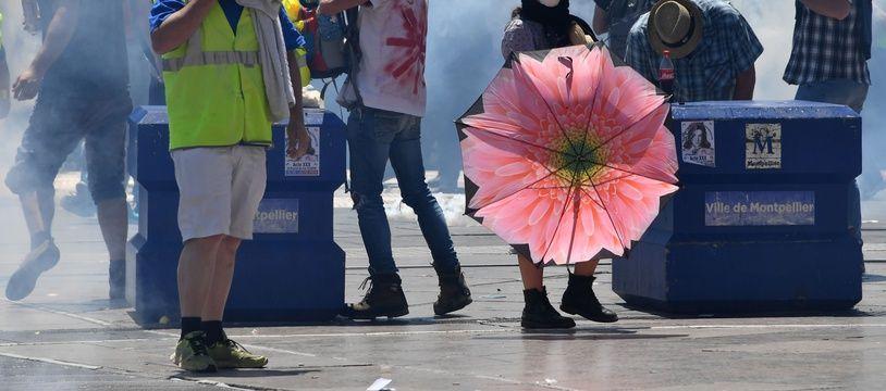"""Les """"gilets jaunes"""" le 8 juin 2019 à Montpellier. (Pascal GUYOT / AFP)"""