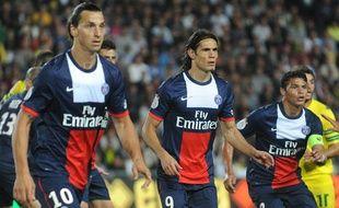 Les Parisiens Ibrahimovic, Thiago Silva et EdinsonCavani, le 25 août 2013, à Nantes.