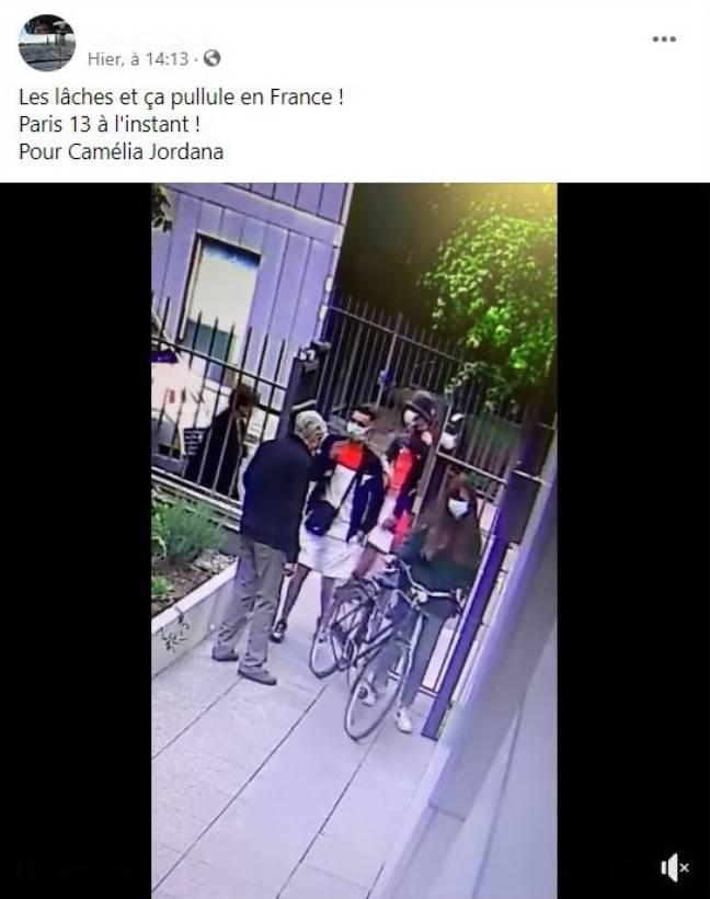 Capture d'écran de la vidéo virale présentant un vol à Paris