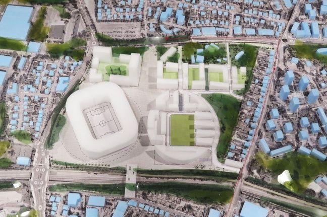 Maquette du projet YelloPark, son nouveau stade, ses espaces verts, ses logements.