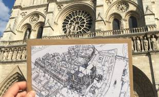 L'illustratrice lyonnaise Emilie Ettori va vendre ses dessins au profit de la reconstruction de la cathédrale Notre-Dame de Paris.