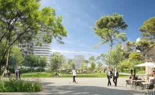 Vue du futur Jardin de l'Ars, dans le quartier Euratlantique à Bordeaux.