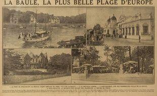 Le 20 août 1925, le journal L'Excelsior vante la Baule, «plus belle plage d'Europe», auprès de ses lecteurs.