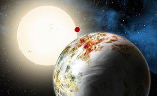 Représentation des planètes Kepler-10c (premier plan) et Kepler 10-b (arrière-plan).
