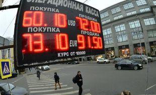 Les taux de change affichés à Moscou le 17 décembre 2014