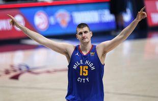 Nikola Jokic des Denver Nuggets, le mardi 1er juin 2021, à Denver.