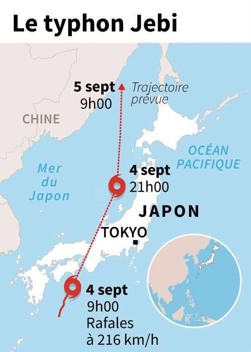 Graphique montrant la trajectoire prévue du puissant typhon Jebi qui balaye le Japon mardi.