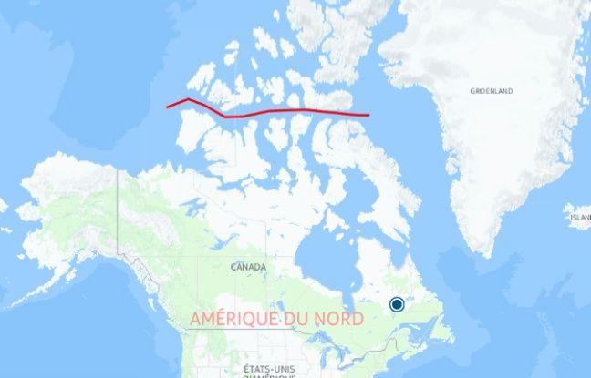 Le passage Nord-Ouest (en rouge) traversé l'été dernier par Guirec Soudée et sa poule Monique.