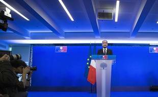 Jean-François Copé, le président de l'UMP, fait une «déclaration solennelle» le 3 mars 2014 au siège du parti, à Paris.