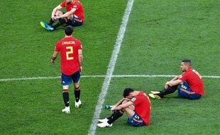 Les Espagnols défaits après leur défaite aux tirs au but contre la Russie.