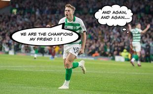 Le joueur du Celtic James Forrest célèbre son but.
