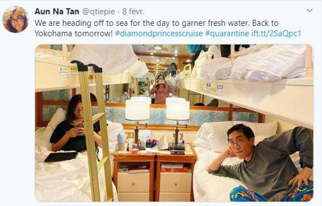 Aun Na Tan, son mari et ses deux enfants en quarantaine dans la petite cabine du Diamond Princess.