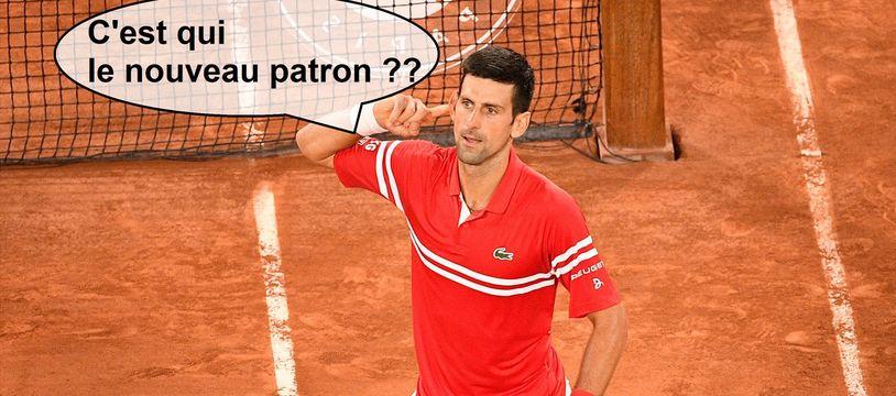 Novak Djokovic lors de sa demi-finale dantesque face à Rafael Nadal à Roland-Garros, le 11 juin 2021.