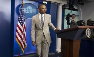 Barack Obama après son discours sur l'économie, l'Irak, la Syrie et l'Ukraine, à la Maison blanche, le 28 août 2014.