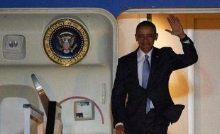 Le président Barack Obama à son arrivée à l'aéroport Stansted le 21 avril 2016 à Londres