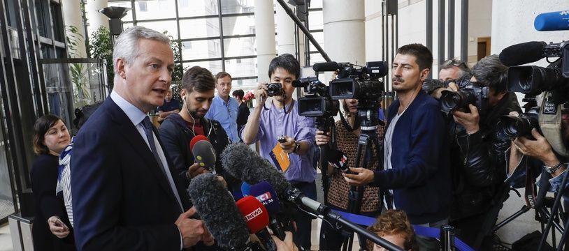Bruno Le Maire en point presse ce samedi au ministère des Finances, à Paris.