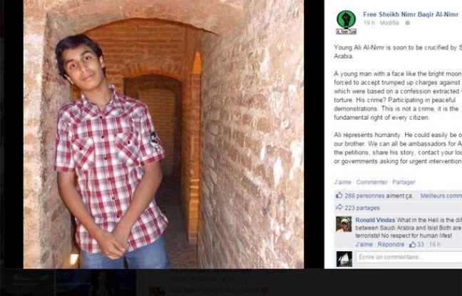 Capture écran page Facebook Free-Sheikh-Nimr-Baqir-Al-Nimr d'un cliché non daté d'Ali Nimr, condamné à mort en Arabie saoudite.