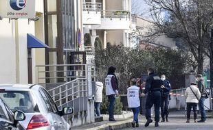 Intervention des secours et de la police à l'agence Pôle emploi de Valence après qu'un homme a abattu une conseillère, jeudi 28 janvier 2021 (illustration).