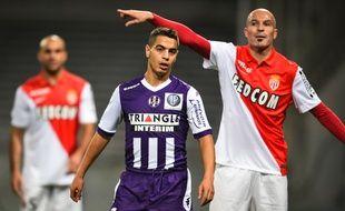 Wissam Ben Yedder sous les couleurs du TFC lors d'un match de Ligue 1 contre Monaco, le 5 décembre 2014 au Stadium de Toulouse.