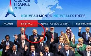 Capture d'écran du site «G20-G8 France 2011» sur laquelle Dominique strauss-Kahn apparaît.