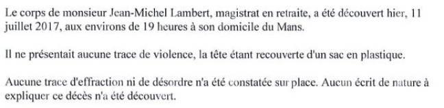 Extrait du communiqué du procureur du Mans sur la mort du juge Lambert.
