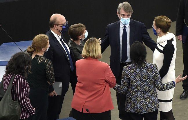 648x415 president parlement europeen david sassoli fond discute dizaine eurodeputes presents dont ancienne maire strasbourg fabienne keller droite