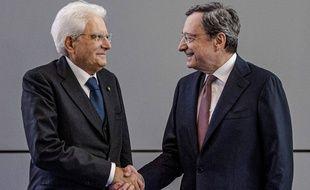Le président italien, Sergio Mattarella (à gauche), et Mario Draghi, le 28 octobre 2019.