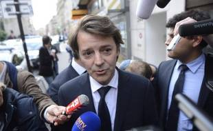 François Baroin devant le siège de l'UMP le 10 juin 2014.