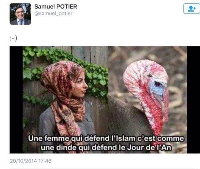 Un des tweets posté par Samuel Potier en 2014.