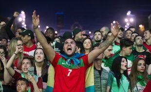 Les supporters portugais dans la fan-zone de Paris lors de Portugal-pays de Galles, le 6 juillet 2016.