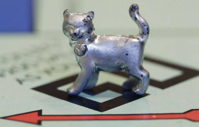 In this Tuesday, Feb. 5, 2013 file photo, the newest Monopoly token, a cat, rests on the game board at Hasbro Inc. headquarters, in Pawtucket, R.I. Hasbro is reporting their fourth quarter 2012 earnings on Thursday, Feb. 7, 2013.