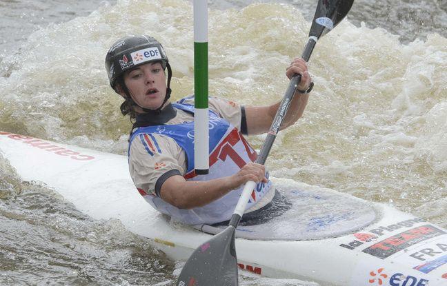Nouria Newman, ici lors du championnat du monde de slalom, en 2013 à Prague, qu'elle a conclu à la deuxième place.