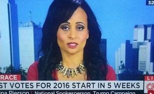 Katrina Pierson, porte-parole de Donald Trump, candidat républicain à la présidentielle américaine, portait un collier qui n'est pas passé inaperçu lors de son dernier passage sur CNN lundi dernier.