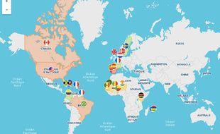 Carte des indemnités et réparations de l'esclavage dans le monde.